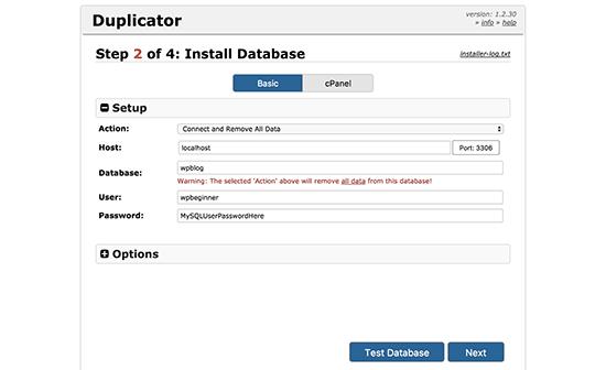 Conéctese a la base de datos para su nuevo nombre de dominio