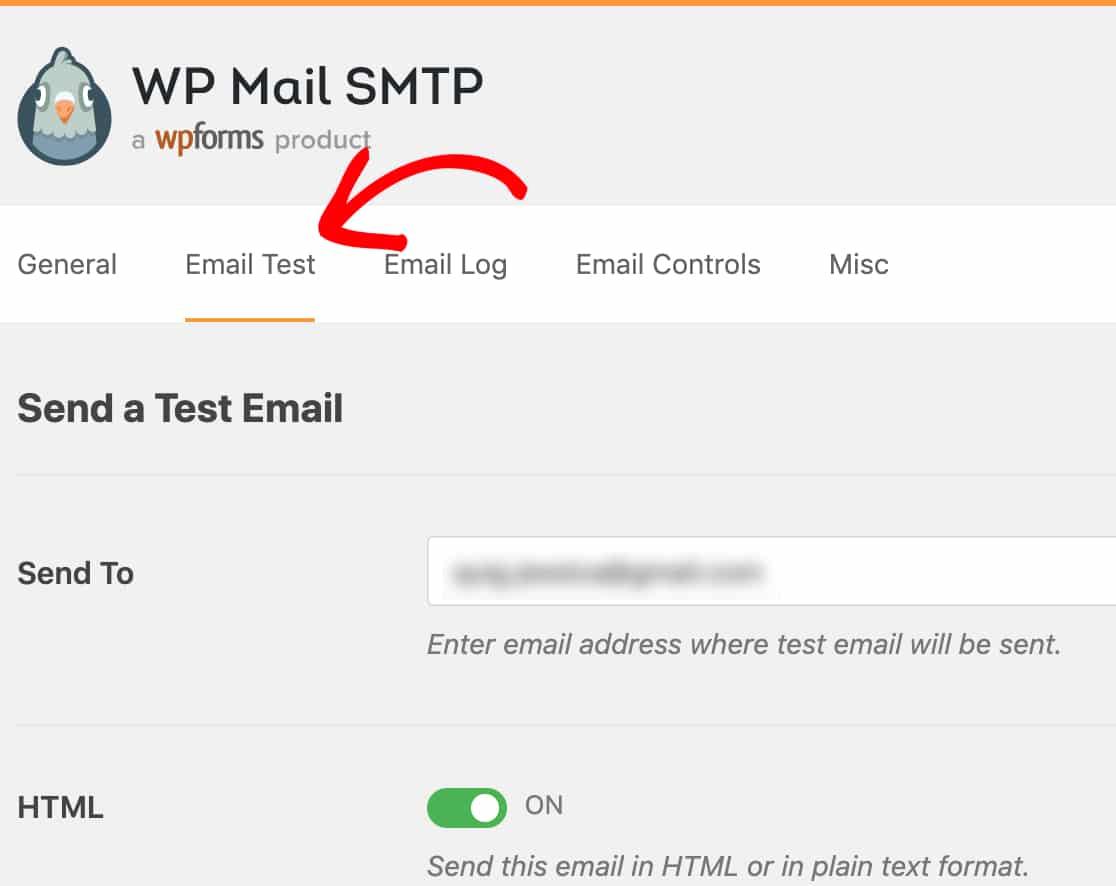 Abra la pestaña Prueba de correo electrónico en WP Mail SMTP wordpress outlook mailer