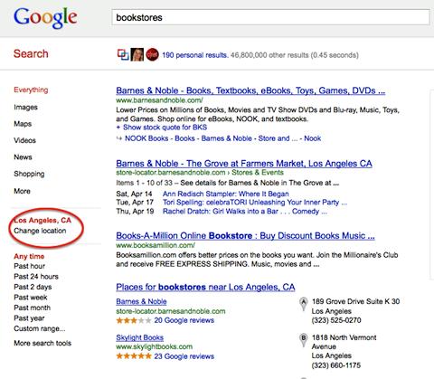 google thay đổi địa điểm