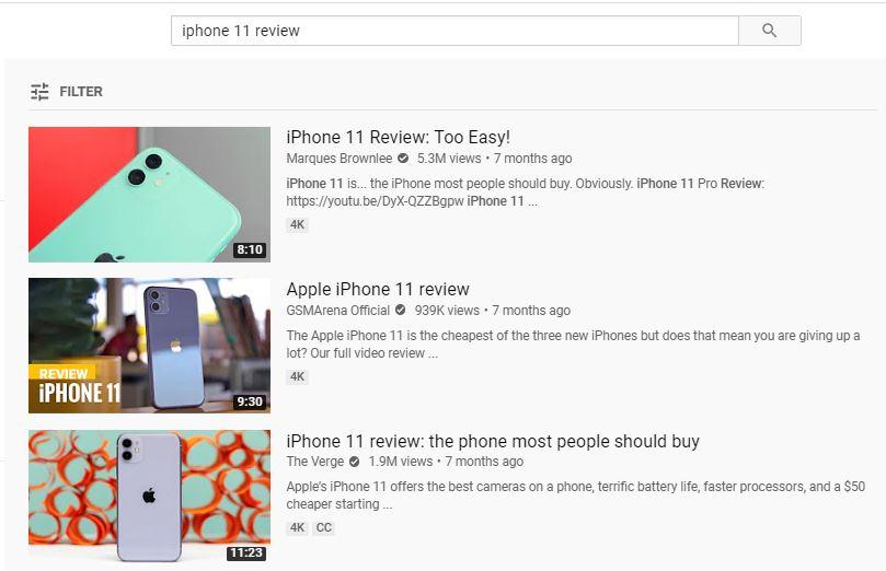resultados de búsqueda de youtube para iphone 11 con miniaturas atractivas como parte de la estrategia de marketing de youtube