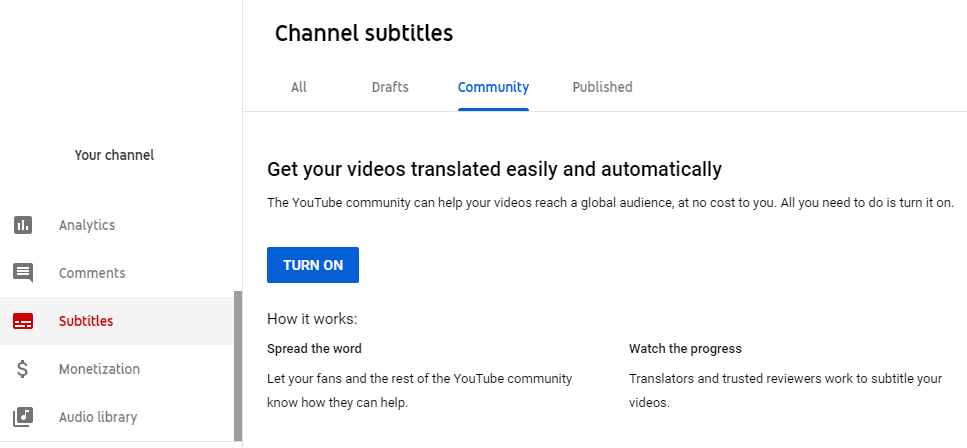 La sección de subtítulos de YouTube Creator Studio para activar las contribuciones de la comunidad es un componente excelente en su estrategia de marketing de YouTube