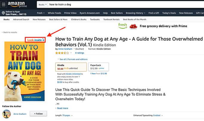 Mira dentro de Amazon eBook (Escribir una introducción) Captura de pantalla