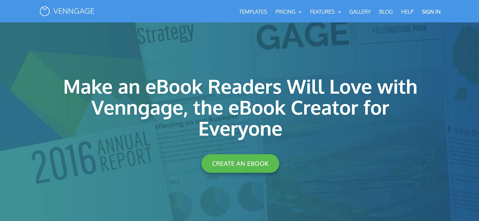 Venngage Homepage Screenshot (eBook Designer Tool)