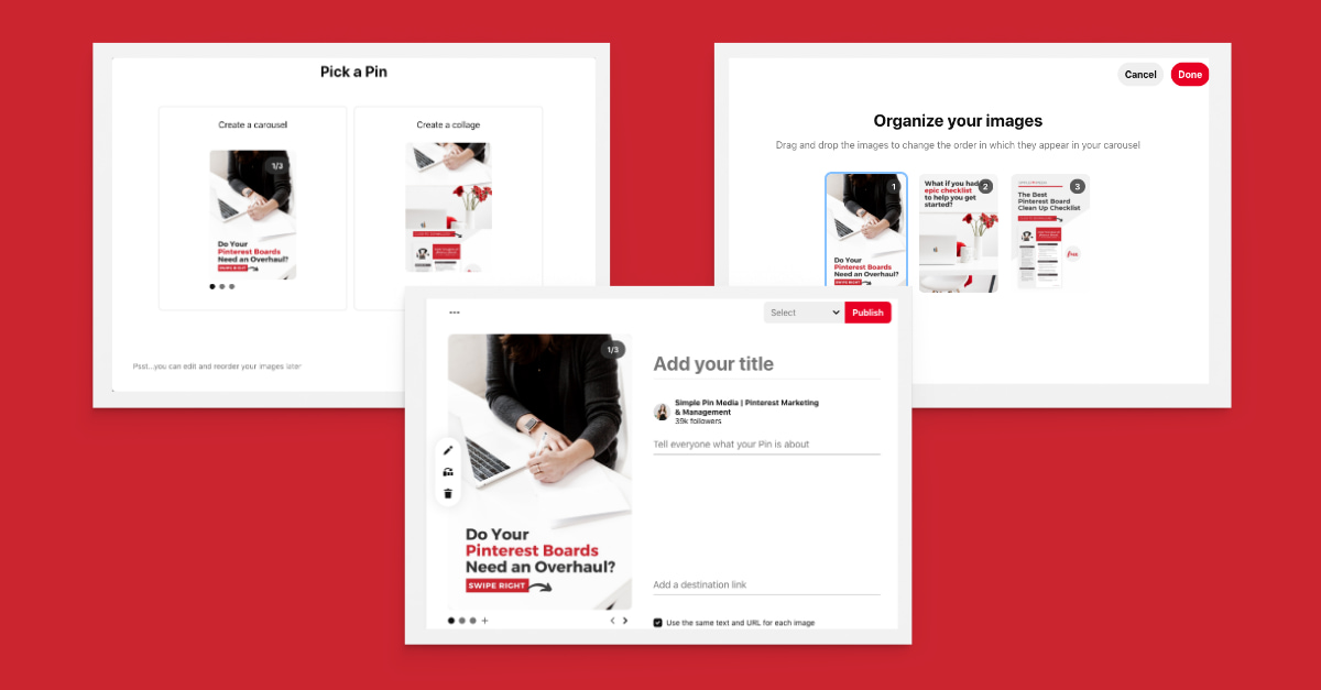 capturas de pantalla que ilustran cómo crear Pinterest pasadores de carrusel