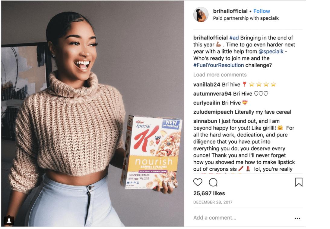 Kellog Instagram Influencer Campaña