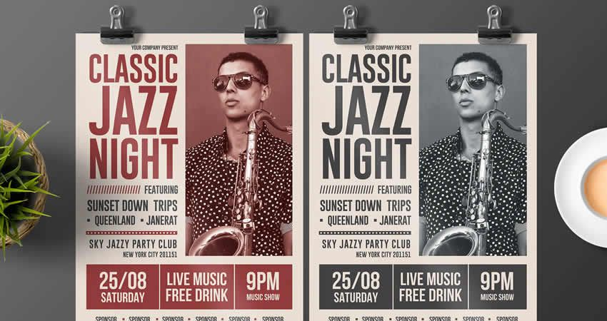 Mẫu Jazz Nighter cổ điển Photoshop PSD AI