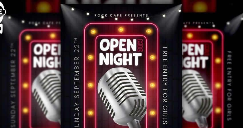 Mở mẫu Mic Night Flyer Photoshop PSD