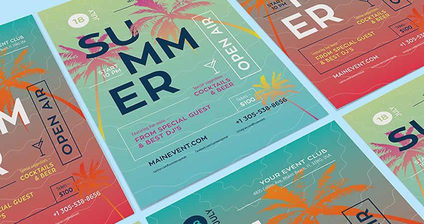 Plantilla de volante de concierto al aire libre de verano AI Illustrator EPS