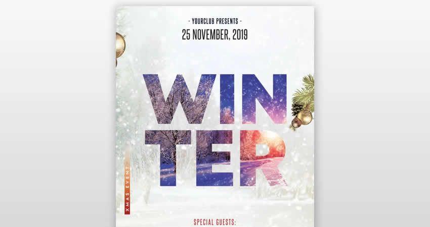 Winter Season Club Flyer Template Photoshop PSD