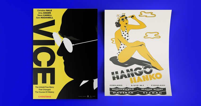 Plantilla de maqueta de póster de folleto ilustrado Photoshop PSD