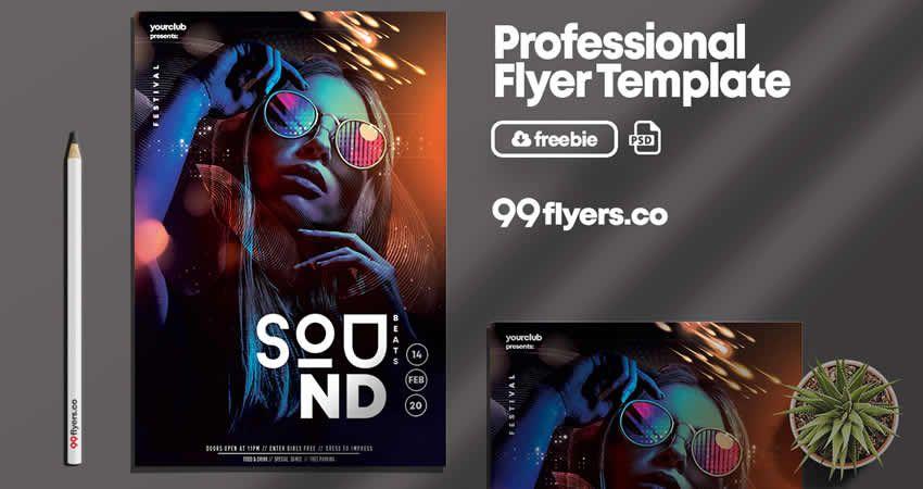 Club Sound Flyer Template Photoshop PSD