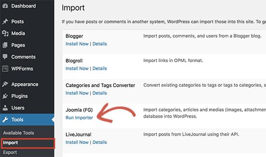 Ejecutar importador de Joomla