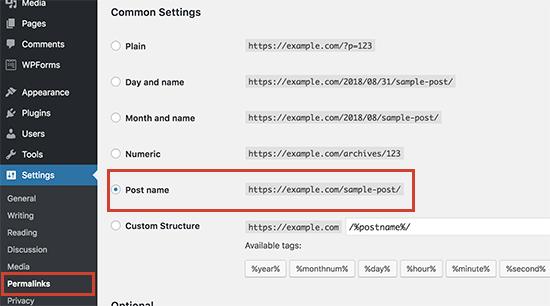 Cambiar la estructura de enlaces permanentes de WordPress