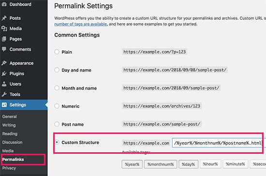 Configurar links permanentes