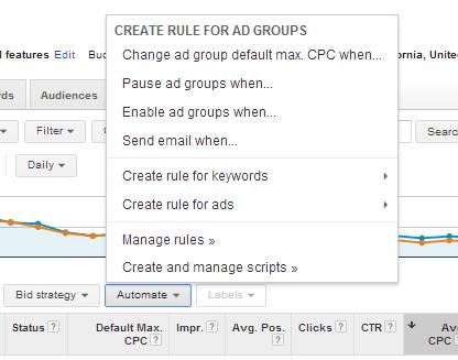 Automatizar botón y menú en Google AdWords