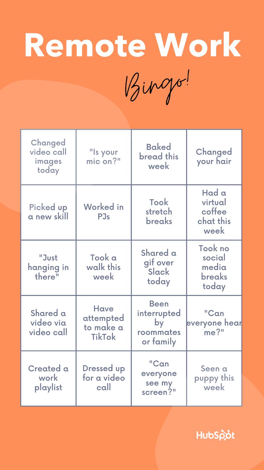 Plantilla de bingo remoto de HubSpot