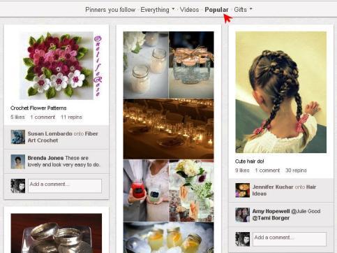 página popular en pinterest