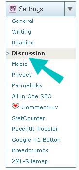 Menú de configuración de discusión de WordPress