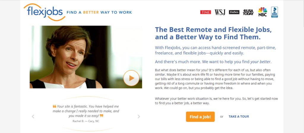 Mejores sitios web de trabajo independientes FlexJobs