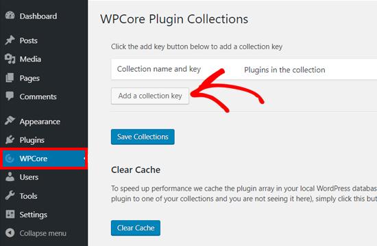 Agregar clave de colección en WPCore Plugin Manager Plugin