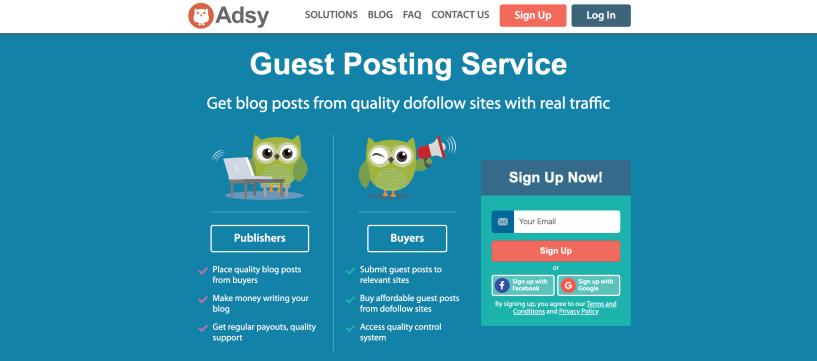 Revisión de Adsy - Servicios de publicación de invitados