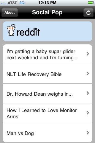 Reddit en la aplicación Social Pop