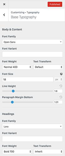 La versión Astra Pro personaliza las fuentes y la configuración de la tipografía