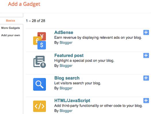 Blogger Gadget əlavə edin