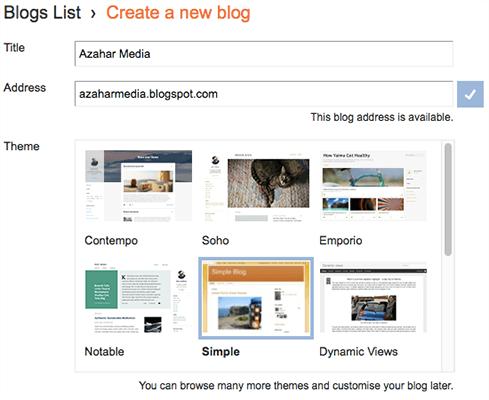 Blogger Blog yaradın