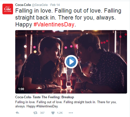 Ví dụ Tweet của Coca Cola 1