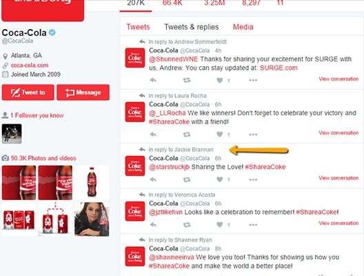 Ví dụ Tweet của Coca Cola 4