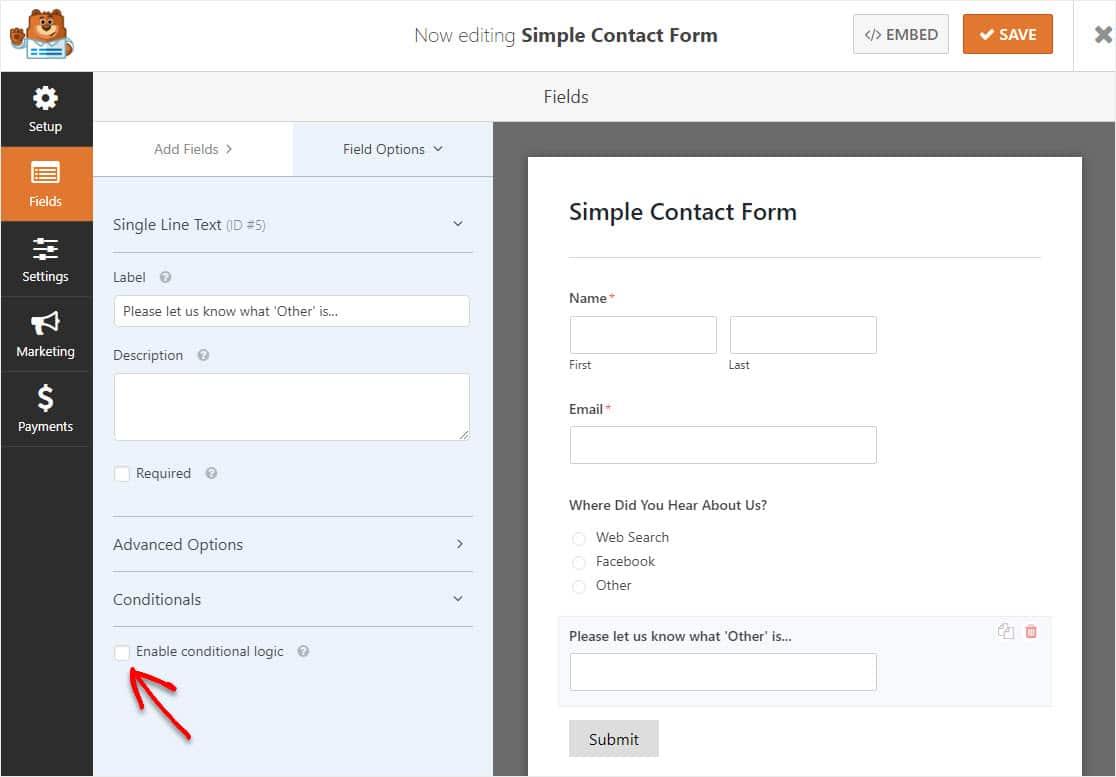 habilitar la lógica condicional en el formulario