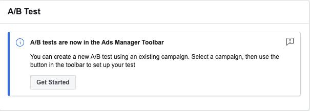 Prueba de administrador de anuncios A / B en la barra de herramientas