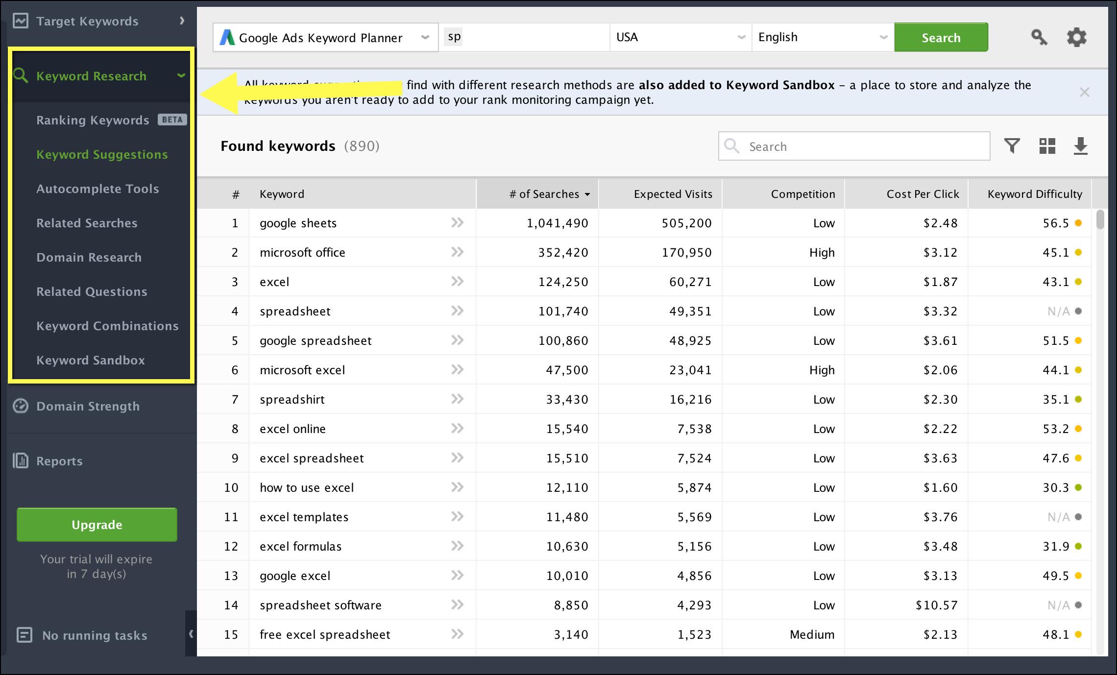 Herramienta de búsqueda de palabras clave de Rank Tracker que puedes usar gratis