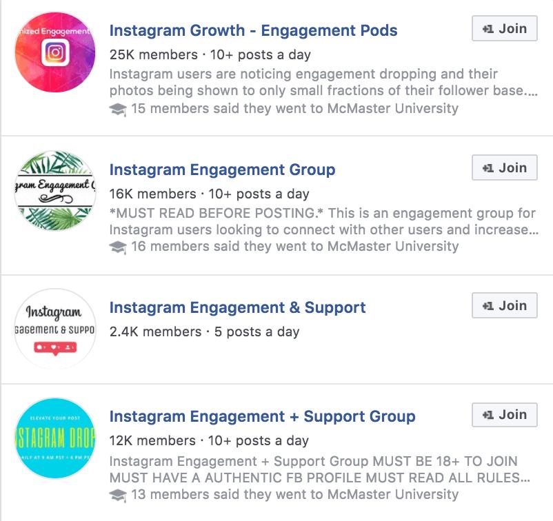 grupos de compromiso para ganar seguidores en Instagram