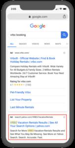 ejemplo de búsqueda paga VRBO