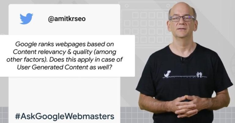 Google no trata el contenido generado por el usuario diferente del contenido principal