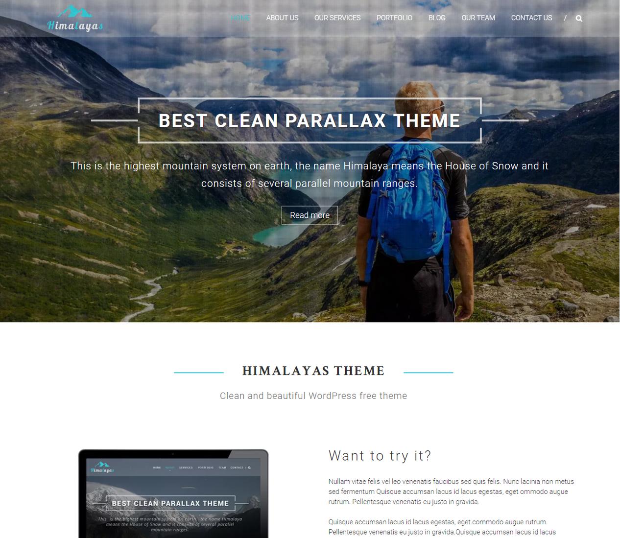 Temas de WordPress Himalayan Parallax 1