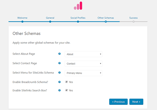 Otras configuraciones de esquemas Fragmentos enriquecidos de Schema Pro