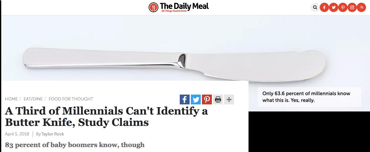 Campañas de contenido que sorprenden: ejemplo de que los Millenials no pueden identificar un cuchillo de mantequilla