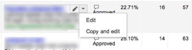 Cree un anuncio nuevo copiando el anuncio existente