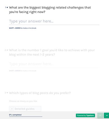 Encuesta rápida usando Typeform