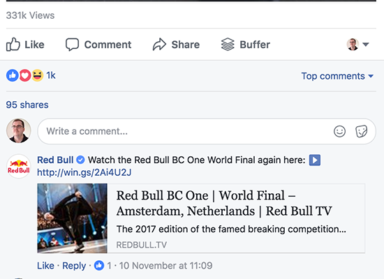Ejemplo de Red Bull Post