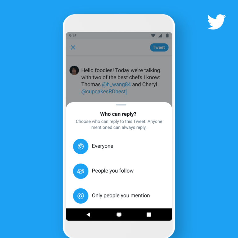 Twitter  para permitir a los usuarios elegir quién puede responder a los tweets