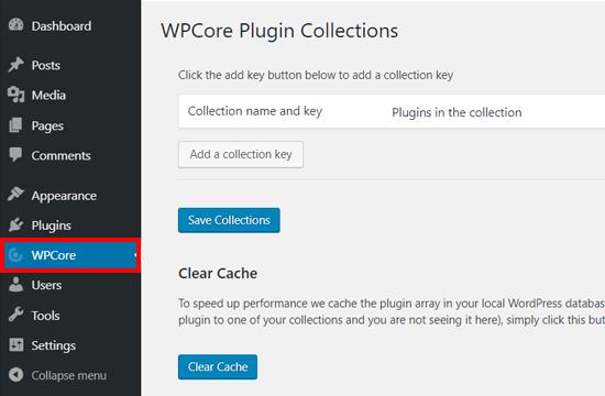 Configuración del complemento de WPCore Plugin Manager