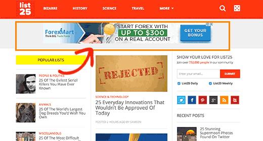 La sección de encabezado en el popular sitio web List25
