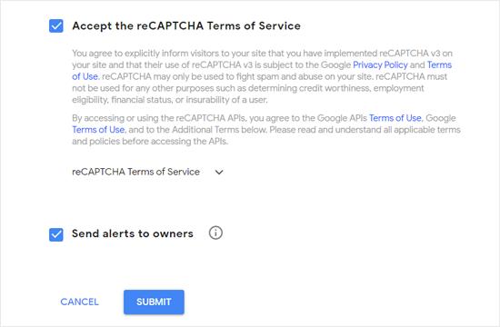 Aceite os Termos de Serviço do Google reCAPTCHA