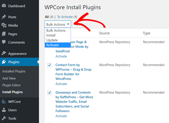 Kích hoạt các plugin số lượng lớn với WPCore