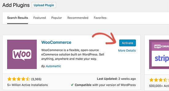 Kích hoạt WooC Commerce