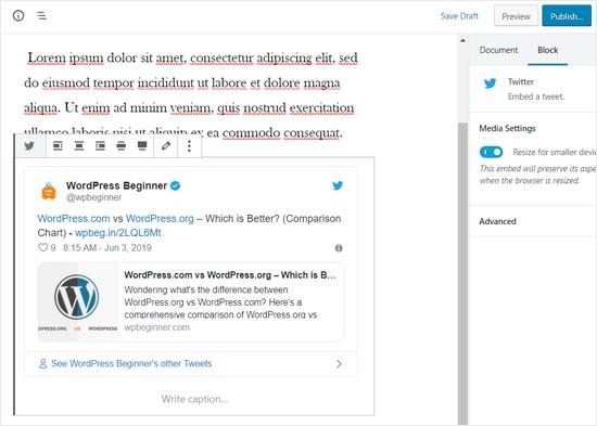 Tweet real integrado en la publicación de WordPress